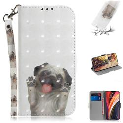 Pug Dog 3D Painted Leather Wallet Phone Case for iPhone 12 Pro Max (6.7 inch)