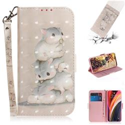Three Squirrels 3D Painted Leather Wallet Phone Case for iPhone 12 Pro Max (6.7 inch)