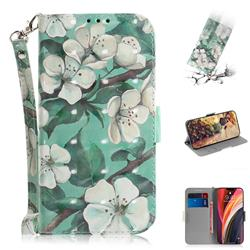 Watercolor Flower 3D Painted Leather Wallet Phone Case for iPhone 12 Pro Max (6.7 inch)