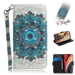 Peacock Mandala 3D Painted Leather Wallet Phone Case for iPhone 12 Pro Max (6.7 inch)