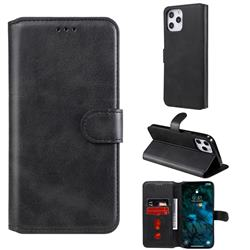 Retro Calf Matte Leather Wallet Phone Case for iPhone 12 Pro Max (6.7 inch) - Black