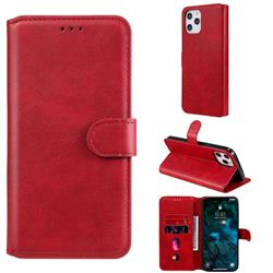 Retro Calf Matte Leather Wallet Phone Case for iPhone 12 Pro Max (6.7 inch) - Red