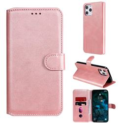 Retro Calf Matte Leather Wallet Phone Case for iPhone 12 Pro Max (6.7 inch) - Pink