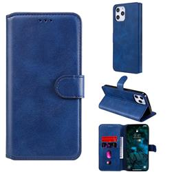 Retro Calf Matte Leather Wallet Phone Case for iPhone 12 Pro Max (6.7 inch) - Blue