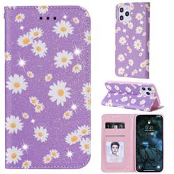 Ultra Slim Daisy Sparkle Glitter Powder Magnetic Leather Wallet Case for iPhone 12 Pro Max (6.7 inch) - Purple