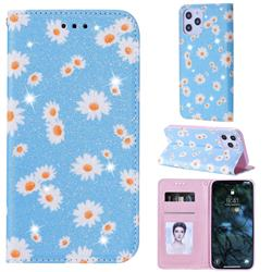 Ultra Slim Daisy Sparkle Glitter Powder Magnetic Leather Wallet Case for iPhone 12 Pro Max (6.7 inch) - Blue