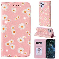 Ultra Slim Daisy Sparkle Glitter Powder Magnetic Leather Wallet Case for iPhone 12 Pro Max (6.7 inch) - Pink