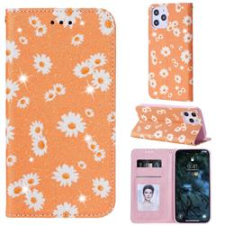 Ultra Slim Daisy Sparkle Glitter Powder Magnetic Leather Wallet Case for iPhone 12 Pro Max (6.7 inch) - Orange