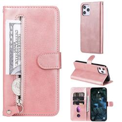Retro Luxury Zipper Leather Phone Wallet Case for iPhone 12 Pro Max (6.7 inch) - Pink