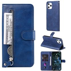 Retro Luxury Zipper Leather Phone Wallet Case for iPhone 12 Pro Max (6.7 inch) - Blue