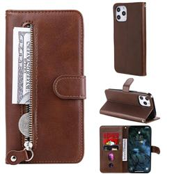 Retro Luxury Zipper Leather Phone Wallet Case for iPhone 12 Pro Max (6.7 inch) - Brown