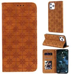 Intricate Embossing Four Leaf Clover Leather Wallet Case for iPhone 12 Pro Max (6.7 inch) - Yellowish Brown
