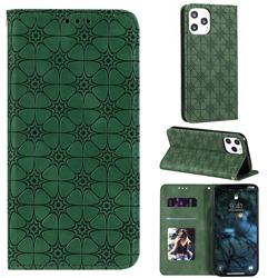 Intricate Embossing Four Leaf Clover Leather Wallet Case for iPhone 12 Pro Max (6.7 inch) - Blackish Green