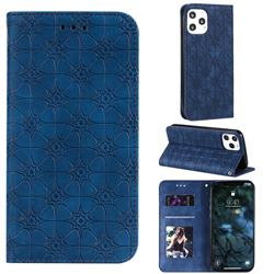 Intricate Embossing Four Leaf Clover Leather Wallet Case for iPhone 12 Pro Max (6.7 inch) - Dark Blue