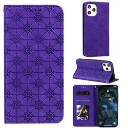Intricate Embossing Four Leaf Clover Leather Wallet Case for iPhone 12 Pro Max (6.7 inch) - Purple