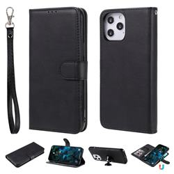 Retro Greek Detachable Magnetic PU Leather Wallet Phone Case for iPhone 12 Pro Max (6.7 inch) - Black
