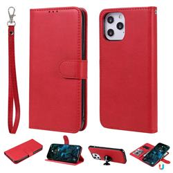 Retro Greek Detachable Magnetic PU Leather Wallet Phone Case for iPhone 12 Pro Max (6.7 inch) - Red