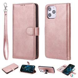 Retro Greek Detachable Magnetic PU Leather Wallet Phone Case for iPhone 12 Pro Max (6.7 inch) - Rose Gold