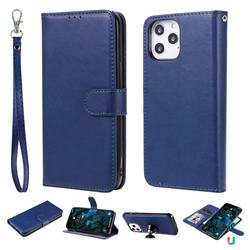 Retro Greek Detachable Magnetic PU Leather Wallet Phone Case for iPhone 12 Pro Max (6.7 inch) - Blue