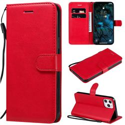 Retro Greek Classic Smooth PU Leather Wallet Phone Case for iPhone 12 Pro Max (6.7 inch) - Red
