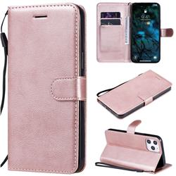 Retro Greek Classic Smooth PU Leather Wallet Phone Case for iPhone 12 Pro Max (6.7 inch) - Rose Gold