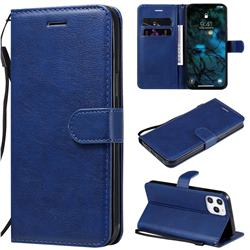 Retro Greek Classic Smooth PU Leather Wallet Phone Case for iPhone 12 Pro Max (6.7 inch) - Blue