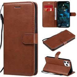 Retro Greek Classic Smooth PU Leather Wallet Phone Case for iPhone 12 Pro Max (6.7 inch) - Brown
