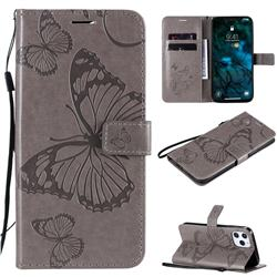 Embossing 3D Butterfly Leather Wallet Case for iPhone 12 Pro Max (6.7 inch) - Gray