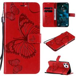 Embossing 3D Butterfly Leather Wallet Case for iPhone 12 Pro Max (6.7 inch) - Red