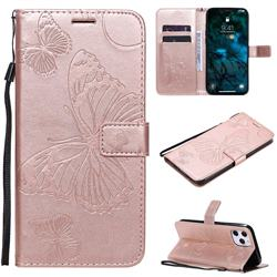 Embossing 3D Butterfly Leather Wallet Case for iPhone 12 Pro Max (6.7 inch) - Rose Gold