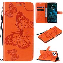 Embossing 3D Butterfly Leather Wallet Case for iPhone 12 Pro Max (6.7 inch) - Orange