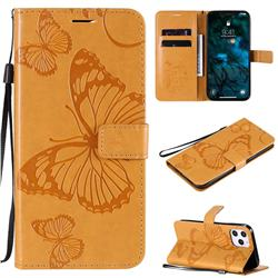 Embossing 3D Butterfly Leather Wallet Case for iPhone 12 Pro Max (6.7 inch) - Yellow