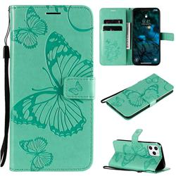 Embossing 3D Butterfly Leather Wallet Case for iPhone 12 Pro Max (6.7 inch) - Green