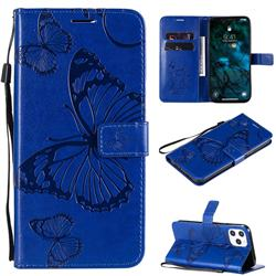 Embossing 3D Butterfly Leather Wallet Case for iPhone 12 Pro Max (6.7 inch) - Blue