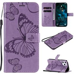 Embossing 3D Butterfly Leather Wallet Case for iPhone 12 Pro Max (6.7 inch) - Purple