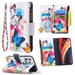 Vivid Flying Butterflies Binfen Color BF03 Retro Zipper Leather Wallet Phone Case for iPhone 12 Pro Max (6.7 inch)