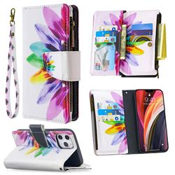 Seven-color Flowers Binfen Color BF03 Retro Zipper Leather Wallet Phone Case for iPhone 12 Pro Max (6.7 inch)