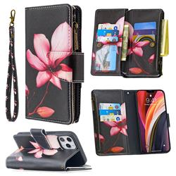 Lotus Flower Binfen Color BF03 Retro Zipper Leather Wallet Phone Case for iPhone 12 Pro Max (6.7 inch)