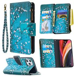 Blue Plum Binfen Color BF03 Retro Zipper Leather Wallet Phone Case for iPhone 12 Pro Max (6.7 inch)