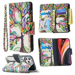 The Tree of Life Binfen Color BF03 Retro Zipper Leather Wallet Phone Case for iPhone 12 Pro Max (6.7 inch)