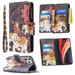 Totem Flower Elephant Binfen Color BF03 Retro Zipper Leather Wallet Phone Case for iPhone 12 Pro Max (6.7 inch)