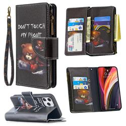 Chainsaw Bear Binfen Color BF03 Retro Zipper Leather Wallet Phone Case for iPhone 12 Pro Max (6.7 inch)