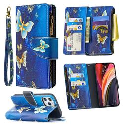 Golden Butterflies Binfen Color BF03 Retro Zipper Leather Wallet Phone Case for iPhone 12 Pro Max (6.7 inch)