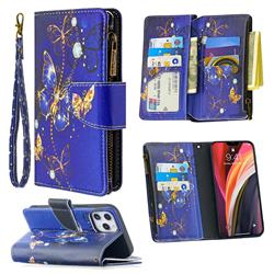Purple Butterfly Binfen Color BF03 Retro Zipper Leather Wallet Phone Case for iPhone 12 Pro Max (6.7 inch)