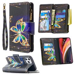 Golden Shining Butterfly Binfen Color BF03 Retro Zipper Leather Wallet Phone Case for iPhone 12 Pro Max (6.7 inch)