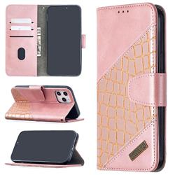 BinfenColor BF04 Color Block Stitching Crocodile Leather Case Cover for iPhone 12 Pro Max (6.7 inch) - Rose Gold