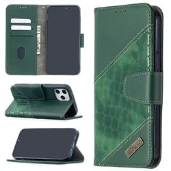 BinfenColor BF04 Color Block Stitching Crocodile Leather Case Cover for iPhone 12 Pro Max (6.7 inch) - Green