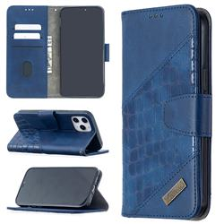BinfenColor BF04 Color Block Stitching Crocodile Leather Case Cover for iPhone 12 Pro Max (6.7 inch) - Blue