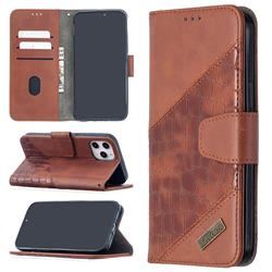 BinfenColor BF04 Color Block Stitching Crocodile Leather Case Cover for iPhone 12 Pro Max (6.7 inch) - Brown