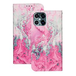 Pink Seawater PU Leather Wallet Case for iPhone 12 Pro Max (6.7 inch)